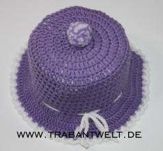 Mützchen für Toilettenpapierrolle violett/weiß*