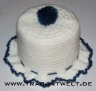 Mützchen für Toilettenpapierrolle weiß/blau