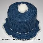 Mützchen für Toilettenpapierrolle blau/weiß