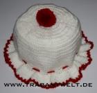 Mützchen für Toilettenpapierrolle weiß/rot