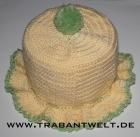 Mützchen für Toilettenpapierrolle beige/grün