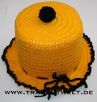 Mützchen für Toilettenpapierrolle gelb/schwarz