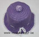 Mützchen für Toilettenpapierrolle violett/weiß