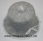 Mützchen für Toilettenpapierrolle grau/weiß