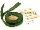 Spannbänder grün mit Lederriemen für Verdeck Trabant Kübel